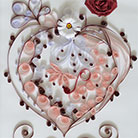 Quilling Hearh With Red Rose